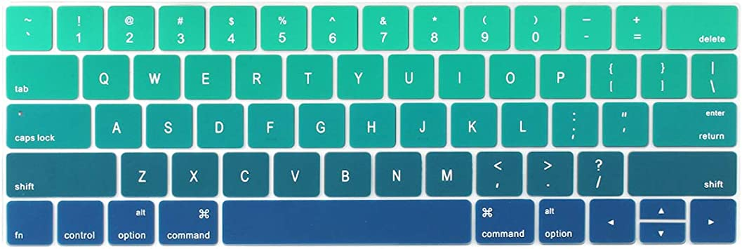 US Gradient Colorful Silicone Keyboard Cover Skin for MacBook Pro 13 15 inch Touch bar 2019 A2159 A1989 A1990 Keyboard Protector-Colorful