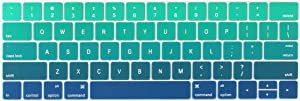 Batianda Ultra Thin Gradient Color Keyboard Cover Protector for New Apple MacBook Pro with Touch Bar 13 inch or 15 inch Model:A1706/A1989/A2159 & A1707/A1990 Release 2019 2018 2017 2016 (Green)