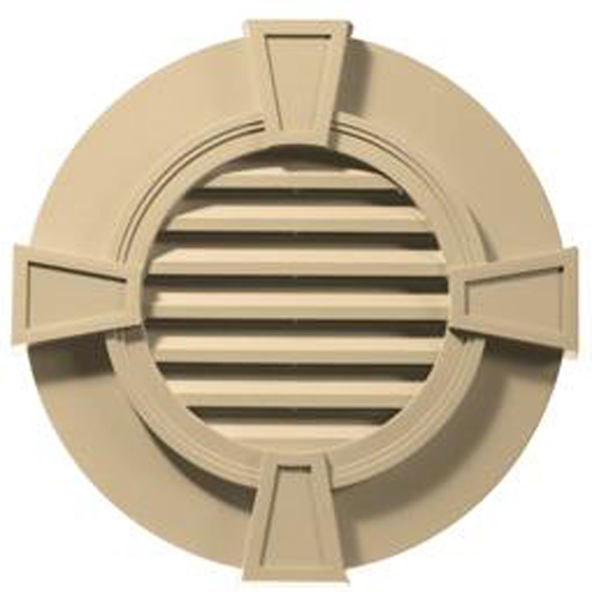 30''W x 30''H Round Gable Vent Louver with Keystones, 50 Sq. Inch Vent Area, 012 - Dark Almond