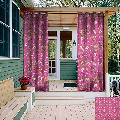 leinuoyi Angel, Outdoor Curtain Grommet, Flora Nosegay Beauty Wedding Bouquet with Shooting Cupid Romantic Print, Outdoor Patio Curtains W108 x L108 Inch Fuchsia Pink Dark Coral
