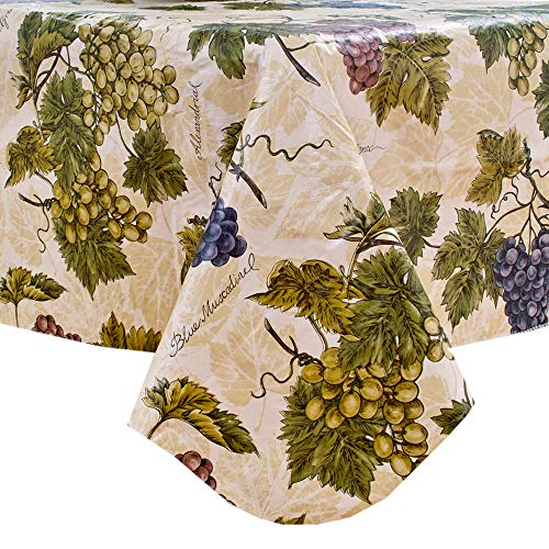 (Grapevines Flannel Backed Vinyl Tablecloth - 60