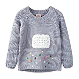 Mud Kingdom Little Girls Sweaters Pullover Cute Cloud and colorful Rains 4T Gray