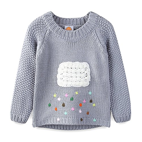 Mud Kingdom Toddler Girls Sweaters Pullover Cute Cloud and Colorful Rains 3T Gray ()