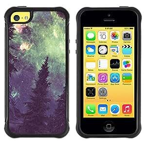 """Pulsar iFace Series Tpu silicona Carcasa Funda Case para Apple iPhone 5C , Vía Láctea Bosque Pintura Verde"""""""