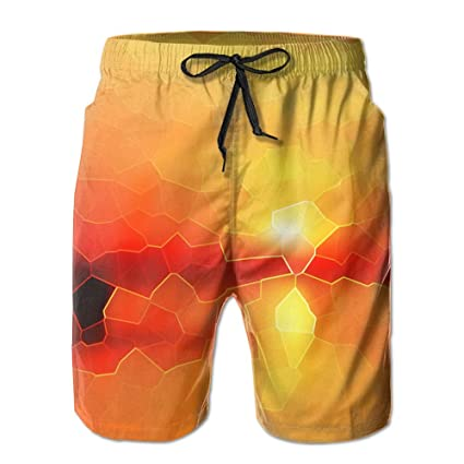 b0362d10f9dab Boys Men's Board Shorts with Pockets Red Polygon Sunlignt Swim Trunk Shorts  for Gentleman