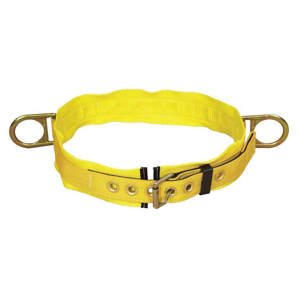 3M DBI-SALA 1000025 Tongue Buckle Belt, Side D-Rings, 3'' Hip Pad,X-Large, Yellow