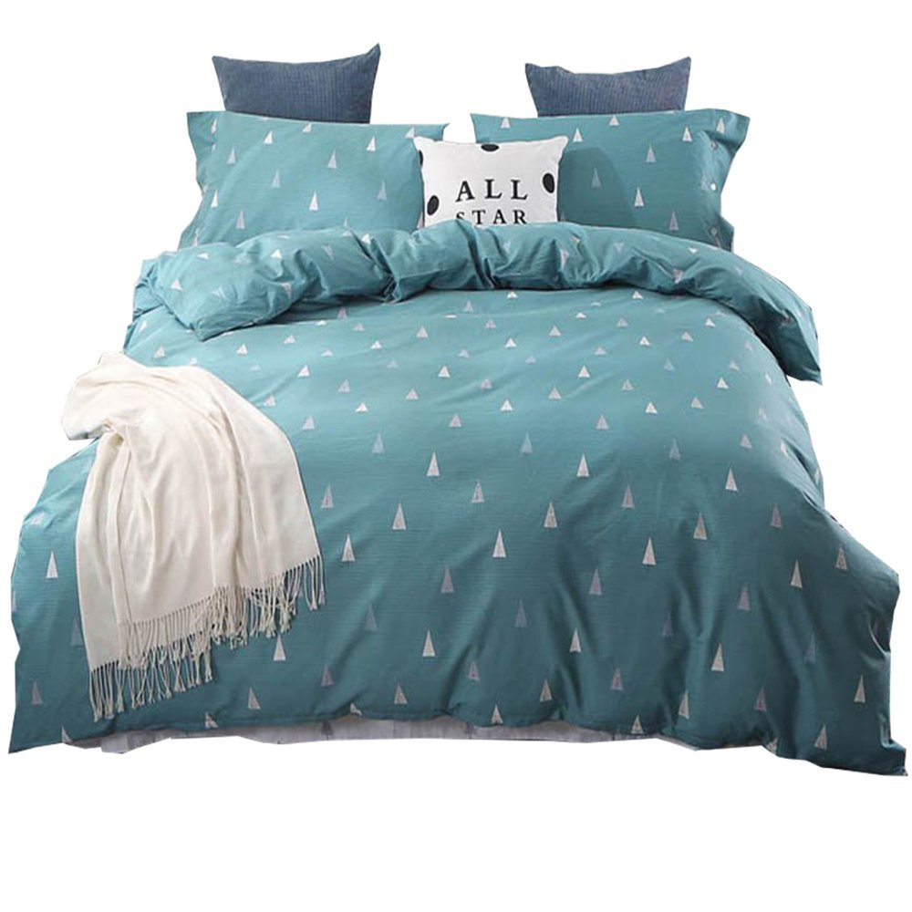 HIGHBUY Luxury 3 Piece Full Bedding Sets Teal Blue with Zipper Closure Pima Cotton Tree Print Duvet Cover Sets Queen for Spring Wrinkle Fade Resistant,4 Corner Ties Comforter Cover Full