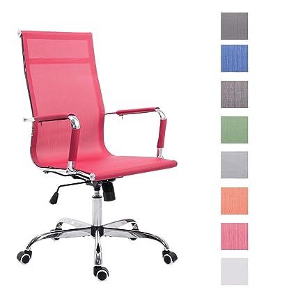 CLP Silla de Oficina Paul Tapizada en Malla Transpirable I Silla de Escritorio con Ruedas I Silla de Ordenador Regulable en Altura I Color: Rojo