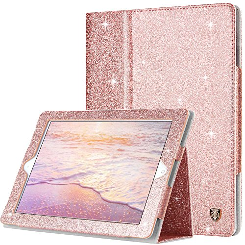 BENTOBEN iPad 2 Case, iPad 3 Case, iPad 4 Case, Glitter Sparkly Slim Lightweight Faux Leather Folio Folding Stand Smart Cover Stylus Holder Auto Wake/Sleep Protective Case for iPad 2/3/4, Rose Gold (Ipad Cases 2 Girls For)