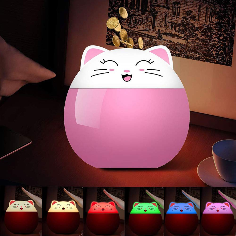 fannuoyi Colorful LED Night Light for Kids Piggy Bank, Cartoon Desk Table Lamp Coin Money Box Home Decoration Best Christmas Birthday Gift for Children Friends (Pink) by fannuoyi