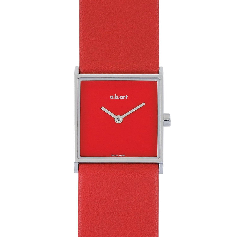 a.b.art Herren Armbanduhr Women'mit rotem Zifferblatt Analog-Anzeige und Lederband ES104