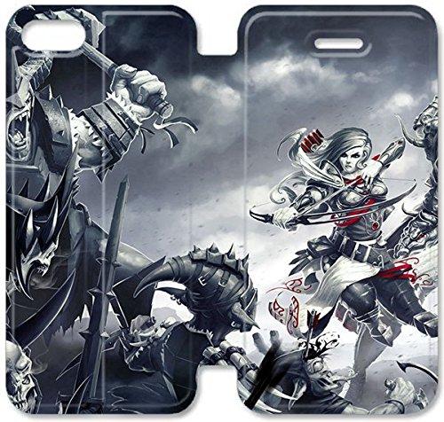 Flip étui en cuir PU Stand pour Coque iPhone 5 5S, bricolage 5 5S étui de téléphone cellulaire en cuir Coque Case Divinité Péché Originel I8U6QG personnalisée 3D Coque iPhone