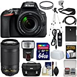 Nikon D5600 Wi-Fi Digital SLR Camera 18-140mm VR DX AF-S & 70-300mm AF-P VR Lens + 64GB Card + Case + Flash + Battery + Tripod + Kit