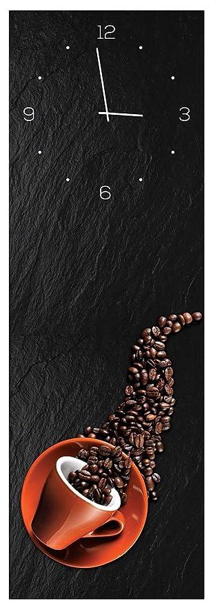 levandeo Wanduhr aus Glas 20x60cm Uhr als Glasbild Küche Kaffee ...