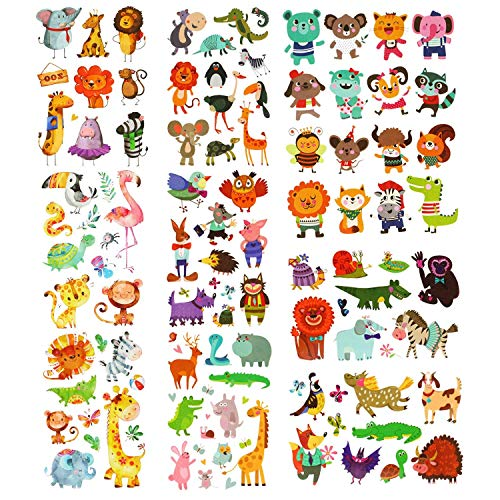 Phogary 200 Pieces 20 Sheets Animals Theme Temporary Tattoos Zoo Patterned Body Art Waterproof Tattoos for Kids]()