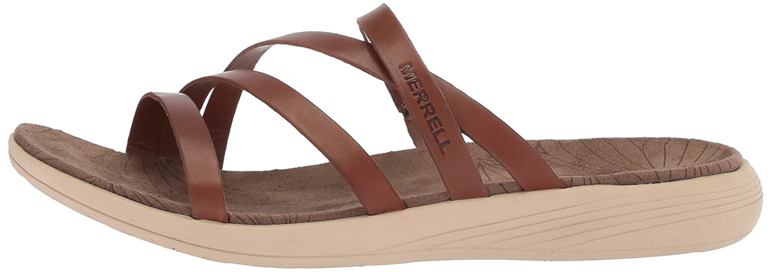 Merrell Women's Duskair Seaway Leather Slide Sandal B072M2W23H 10 B(M) US|Merrell Oak