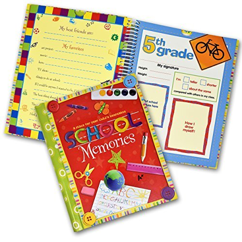 School Memory Book Album Keepsake Scrapbook Photo Kids Memories from Preschool Through 12th Grade with Pockets for Storage Portfolio + Bonus 12 Slots to Paste Pictures - of School Pictures, Grad etc. ()