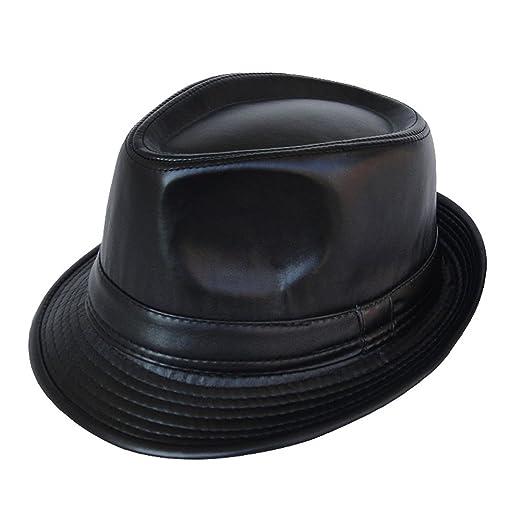 3b83ea75aff8b Summerwhisper Women s Men s Leather Fedora Trilby Hat Cap Unisex Black