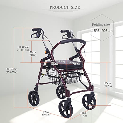 Amazon.com: Rollator Walker - Silla de transporte plegable ...