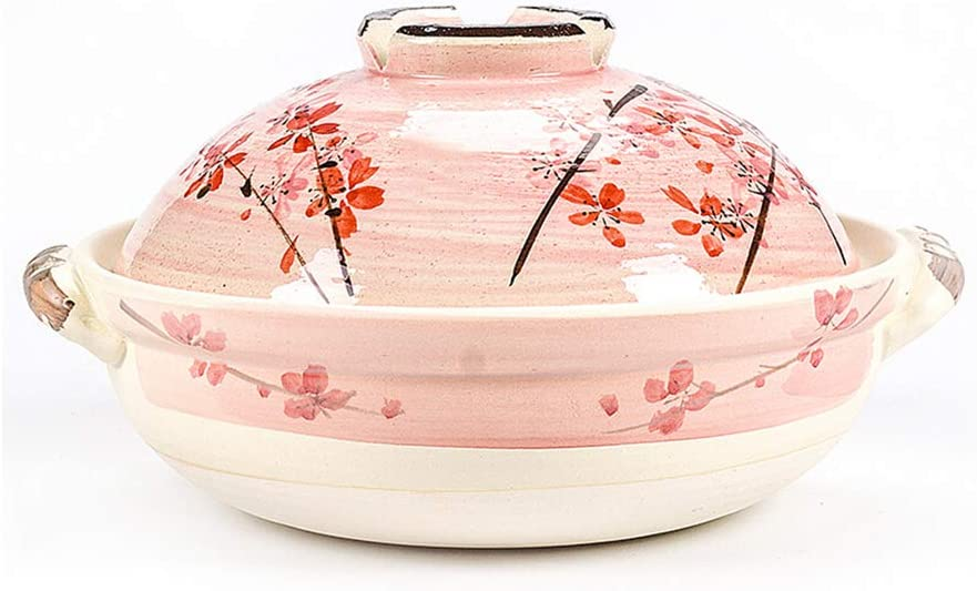 Casserole Dutch Ovens Ceramic Cast iron Enameled Casserole,Pink Cherry Blossom Soup Pot Open Flame High Temperature Resistance Gas Stove Universal-3.2L