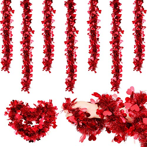 6 Packs Valentine's Day Heart Tinsel Garlands Red Tinsel Heart Wire Garlands Metallic Heart Wreath Garlands for Party…