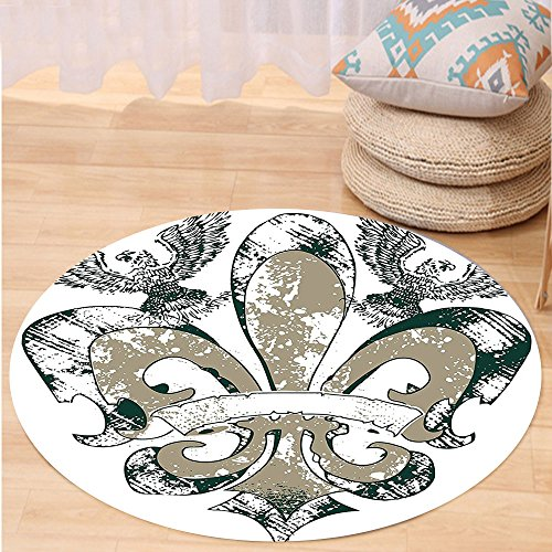 VROSELV Custom carpetFleur De Lis Decor Eagles on Fleur De Lis Emblem Art Power Symbol Victorian Creative Illustration Bedroom Living Room Dorm Jungle Green Tan Round 72 inches