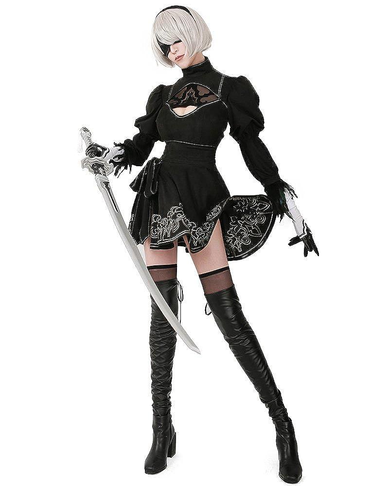 Miccostumes Women's No 2 Type B Cosplay Costume Leotard Skirt with Mask Hairband Leggings