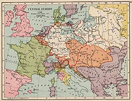 Amazon.com: EUROPE IN 1789. Holy Roman Empire. Division of ... on