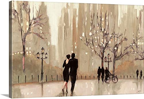 an Evening Out Neutral Canvas Wall Art Print