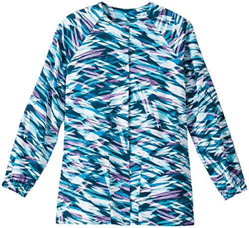 White Swan Bio Womens Abstract Print Warm Up Scrub Jacket Large Print (Jackets Print Scrub)