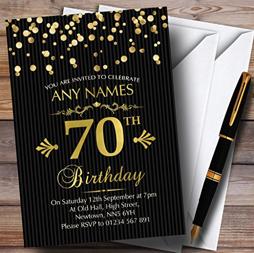 Gold Confetti Black Striped 70th Personalized Birthday Party Invitations -