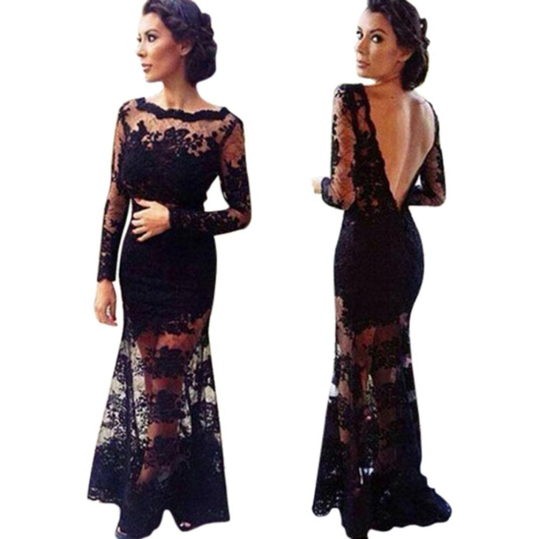 Haoricu Women Dress Hot Sale!Women Black Lace Backless Graduation Evening Party Formal Prom Long Maxi Dress (L, Black)