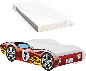 iGLOBAL Cama infantil con diseño de coches, con somier y colchón de espuma, 140 x 70 cm, color rojo