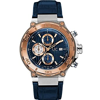 Guess Collection Bold Homme Bracelet Cuir Bleu Boitier Acier Inoxydable Saphire Quartz Montre X56011G7S