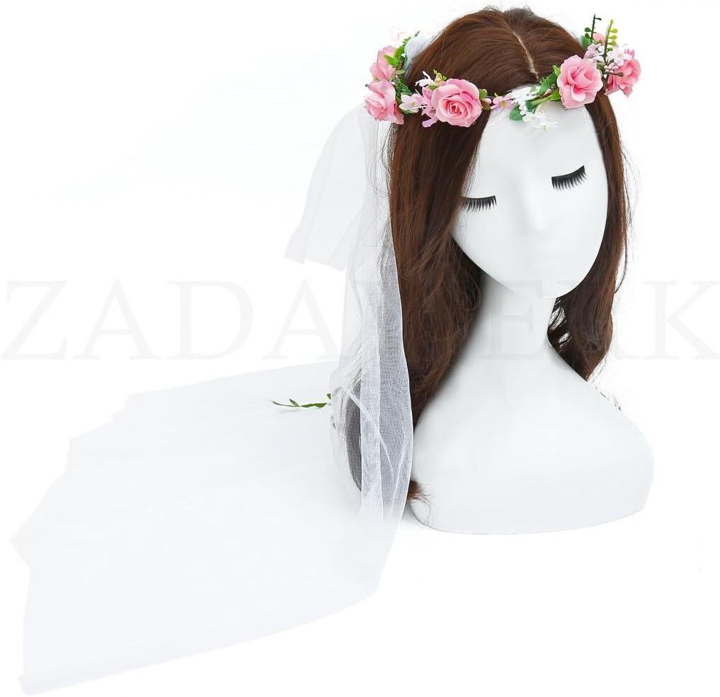 accessoire cheveux avec un voile blanc ZADAWERK/® Couronne de fleurs rose