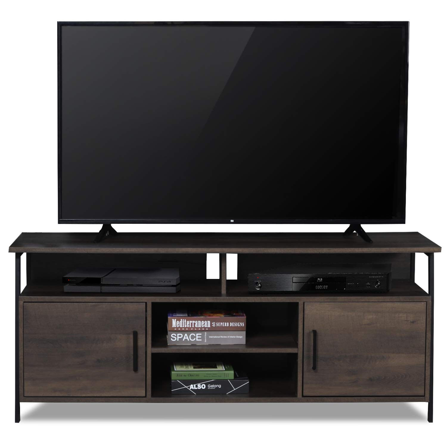 Sekey Home 58'' Entertainment Center Wood Media TV Stand | Storage Console, Smoky Oak by Sekey