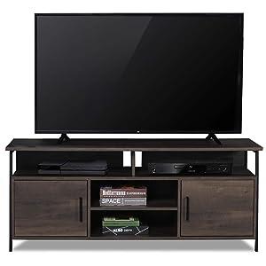 "Sekey Home 58"" Entertainment Center Wood Media TV Stand | Storage Console, Smoky Oak"