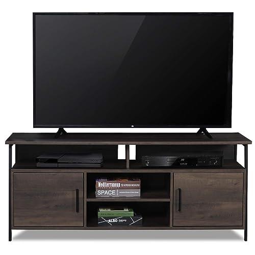 Sekey Home 58 Entertainment Center Wood Media TV Stand Storage Console, Smoky Oak