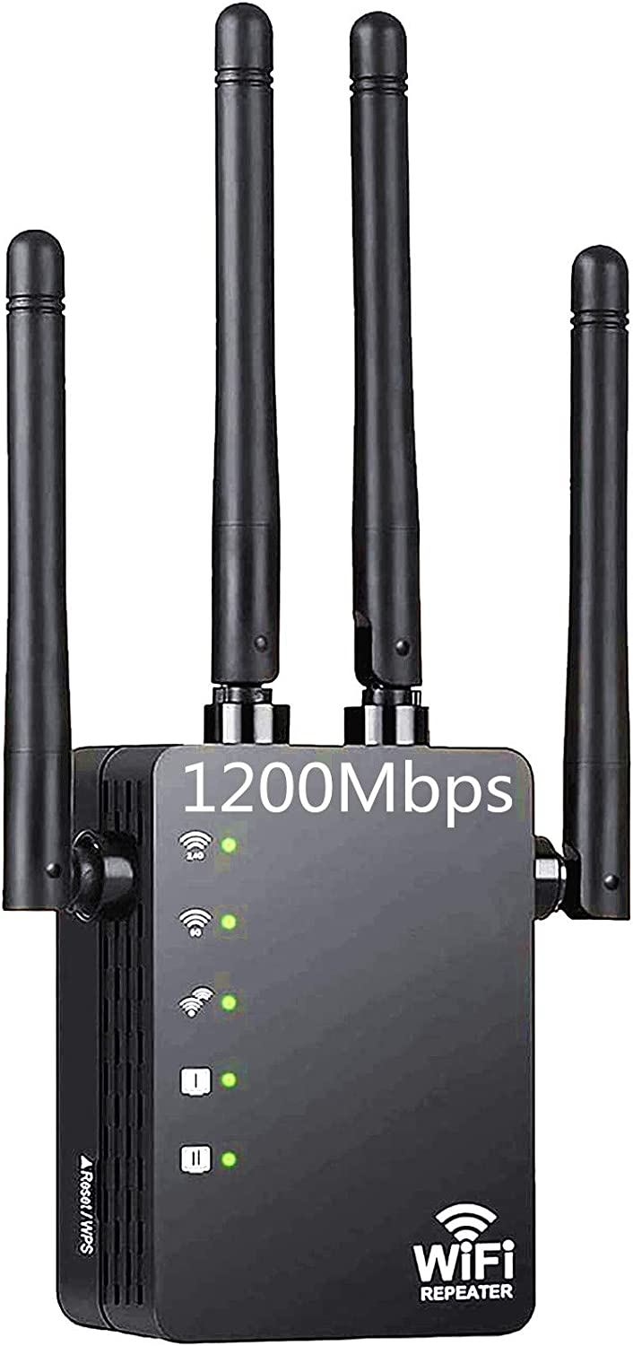 Carantee WiFi Range Extender, 1200Mbps Wireless Signal Repeater Booster, Dual Band 2.4G and 5G Expander, 4 Antennas 360° Full Coverage, Extend WiFi Signal to Smart Home & Alexa Devices(BK1200U2)