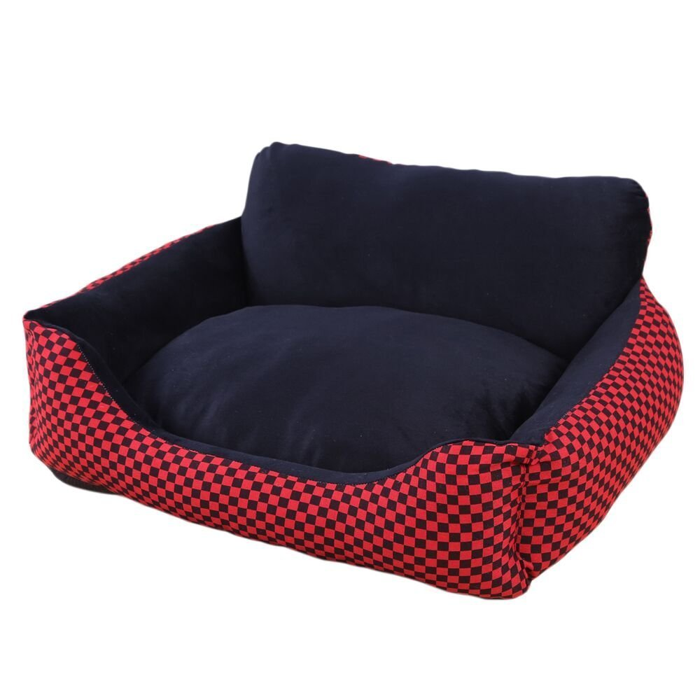 YOIOY Comfortable Winter Pet Cushion Sofa Kennel Waterproof Dog Pet Cat Bed Mat Cushion Washable Ultra-Soft Plush Fabric Soft Cover Black with Red ...