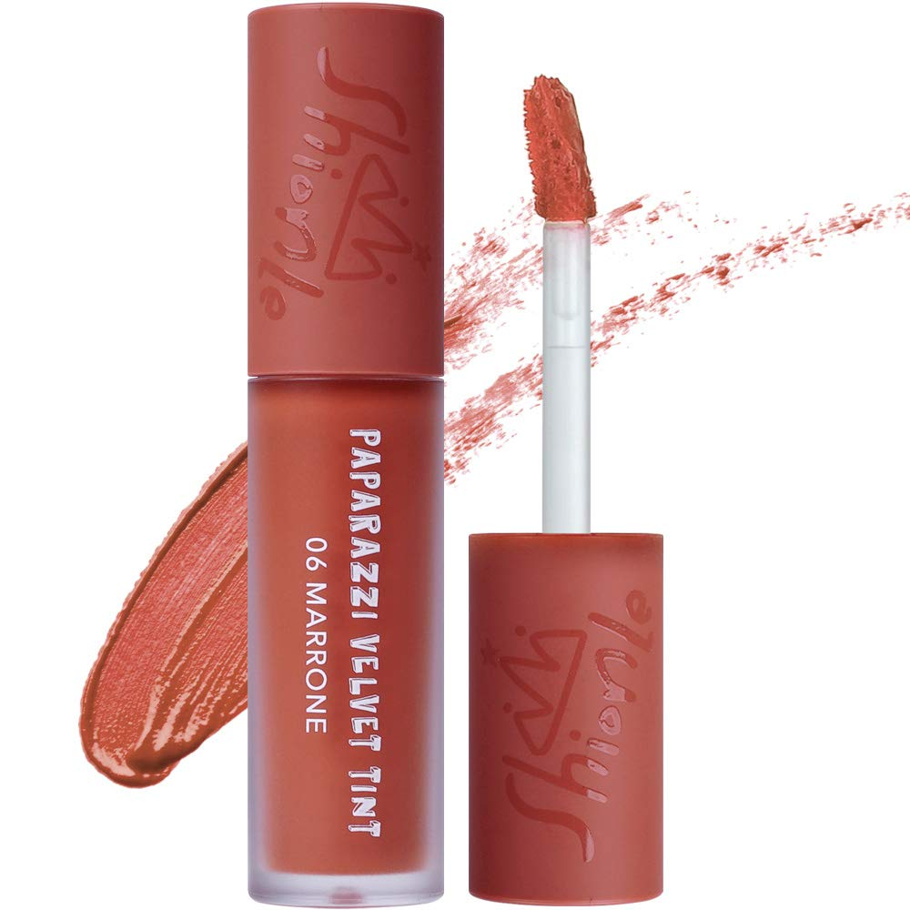 SHIONLE - Paparazzi Velvet Tint: Long Lasting Lip Stain with Moisturizing effects   Wrinkle Coverage   Gradation Look   Available in 6 Colors   06 Marrone   4.5g