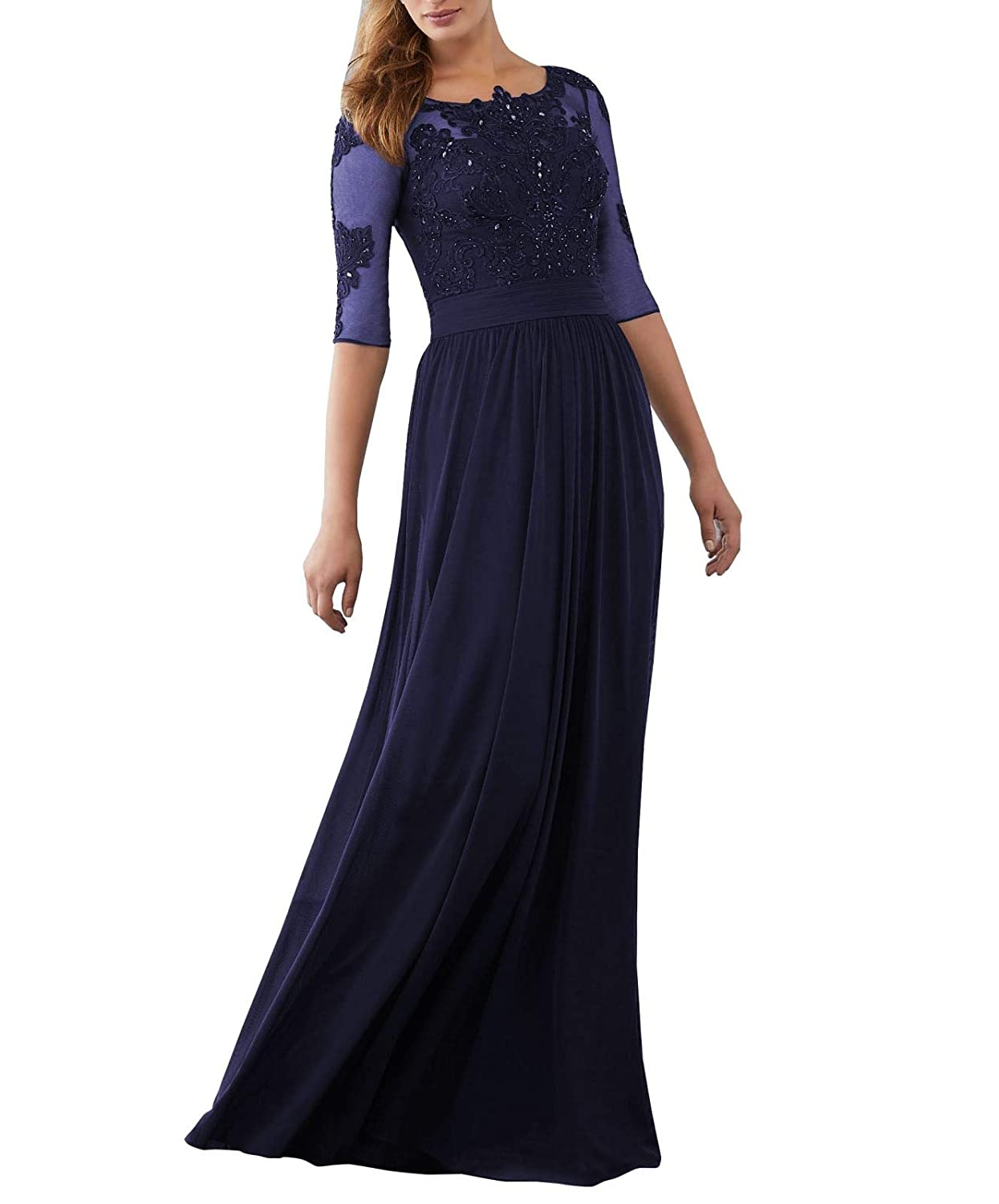 bluee Wanshaqin Women's Aline Illusion Lace Appliques Evening Gown Formal Wedding Party Dress for Brides with Pleated Empire Waist