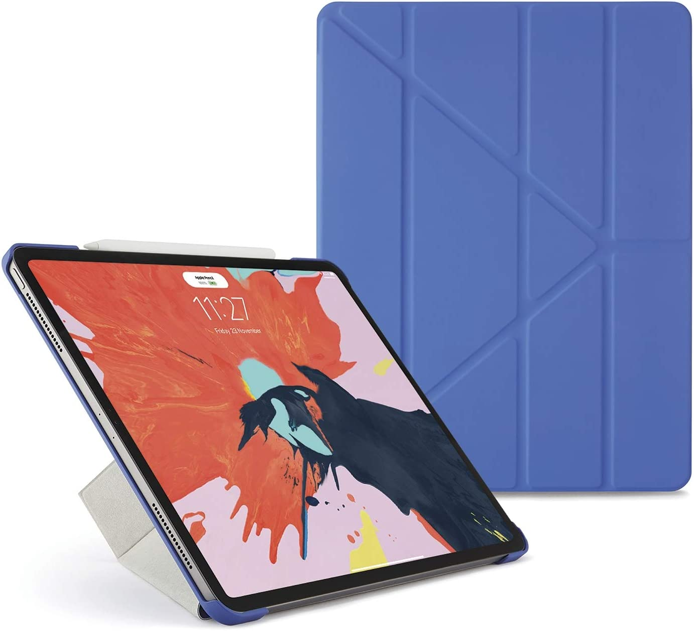 "PIPETTO Origami iPad Case Pro 12.9"" (2018) with 5 in 1 Stand & auto Sleep/Wake Function Royal Blue"