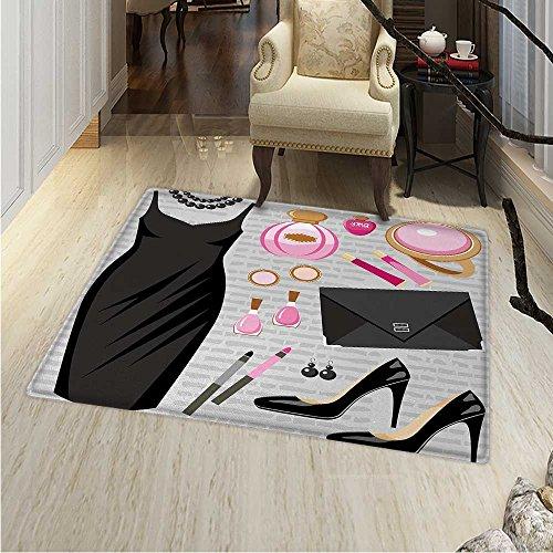 - Heels Dresses Area Rug Carpet Black Smart Cocktail Dress Perfume Make up Clutch Bag Living Dinning Room Bedroom Rugs 3'x4' Black Pale Pink Pale Brown