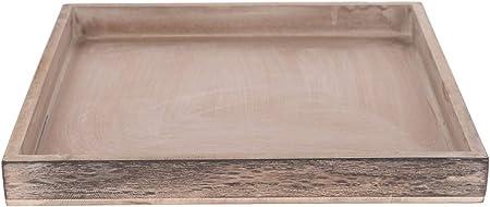Dijk Natural Collections Madera Bandeja–MDF–30x 30x 3cm–gris marrón–Cuadrado–Vela plato–Plato decorativo (–Stand