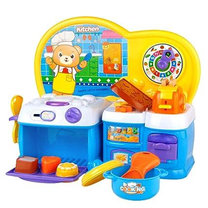 Symiu Juegos de Cocinita Infantil Juguetes Cumpleaños Regalos para Niños 3 4 5 Años con Música y Luz