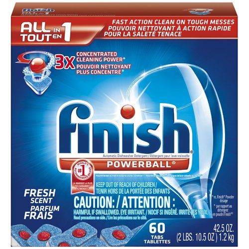 FINISH All-in-1 Powerball Tabs - Fresh Scent, 60 Tablets/Box (4/Carton) - BMC- REC81158 by Miller Supply Inc