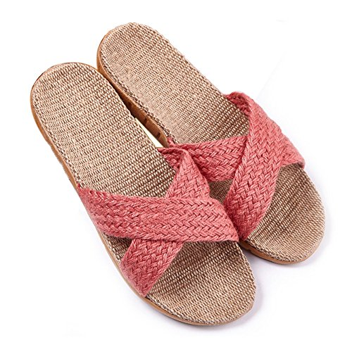 Huluwa Linen Slippers, Unisex Summer Skidproof Indoor Couples Home Outdoor Beach Sandals, Light Red, 7