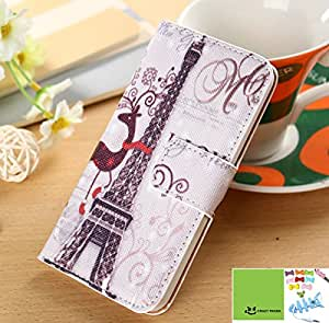 Crazy Panda LG Nexus 5 Wallet Case Cute Colorful Painting 1 Premium Vintage Flip Leather Stand Wallet Cover Open Card Pocket Case Stand Folio Cover Pouch for LG Nexus 5 (Eiffel)