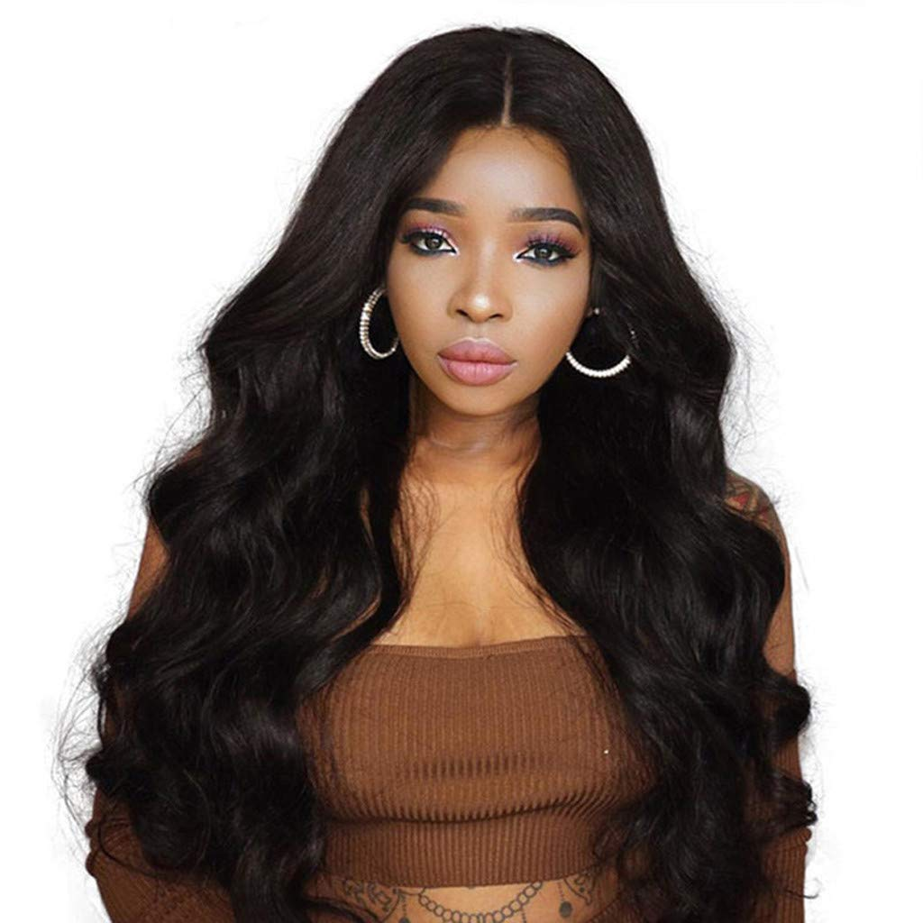 Europe and America Women's Long Hair Curly Hair Anime Cosplay Big Wave Black Long Hair Front Lace High Temperature Synthetic Hair Wig by Sunsee (Image #1)